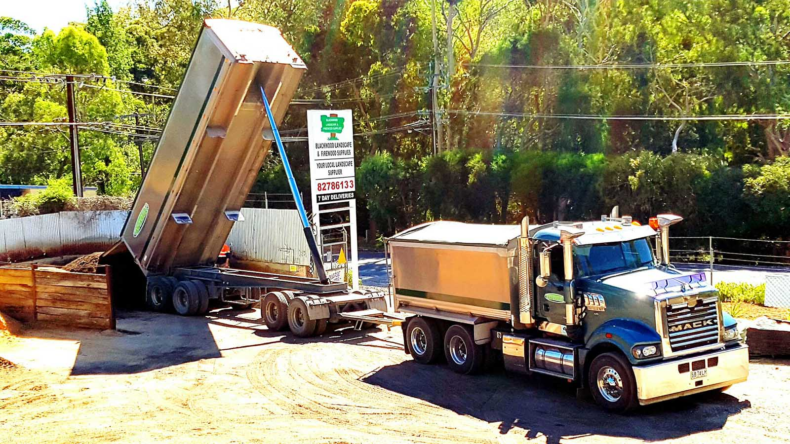 Blackwood Firewood & landscape Mack tip truck with 30 metre trailer with hydraulic lifting for bulk landscape supplies